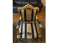 louis x style chair Blue and gold chair - Quick Sale