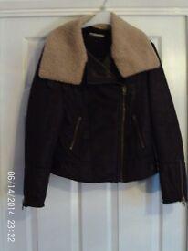 Ladies NEXT Brown Suede Jacket 10/12