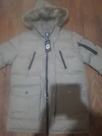 BRAND NEW bee inspirer clothing stone coloured parker coat £60