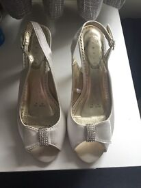 Diamanté half bow bridal shoes