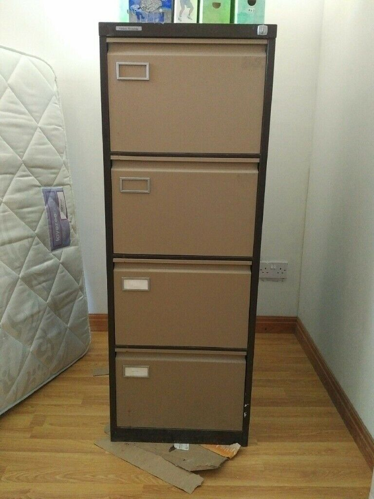Picture of: 4 Drawer Metal Filing Cabinet With Key Working Ok In Swansea Gumtree