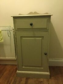 Single drawer cupboard with one door and one shelf inside shabby chic style