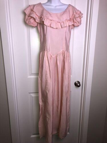 Vintage 1970s Pink Taffeta Prairie Maxi Dress Sz M Ruffle Collar Short Sleeves