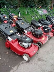 Lawnmowers for sale, various prices.
