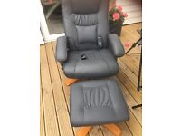 Grey leather massage reclining chair