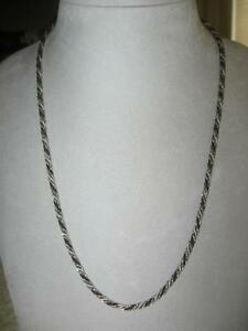 GORGEOUS OLD VINTAGE 23-in. SILVER / BLACK TWISTED ROPE NECKLACE
