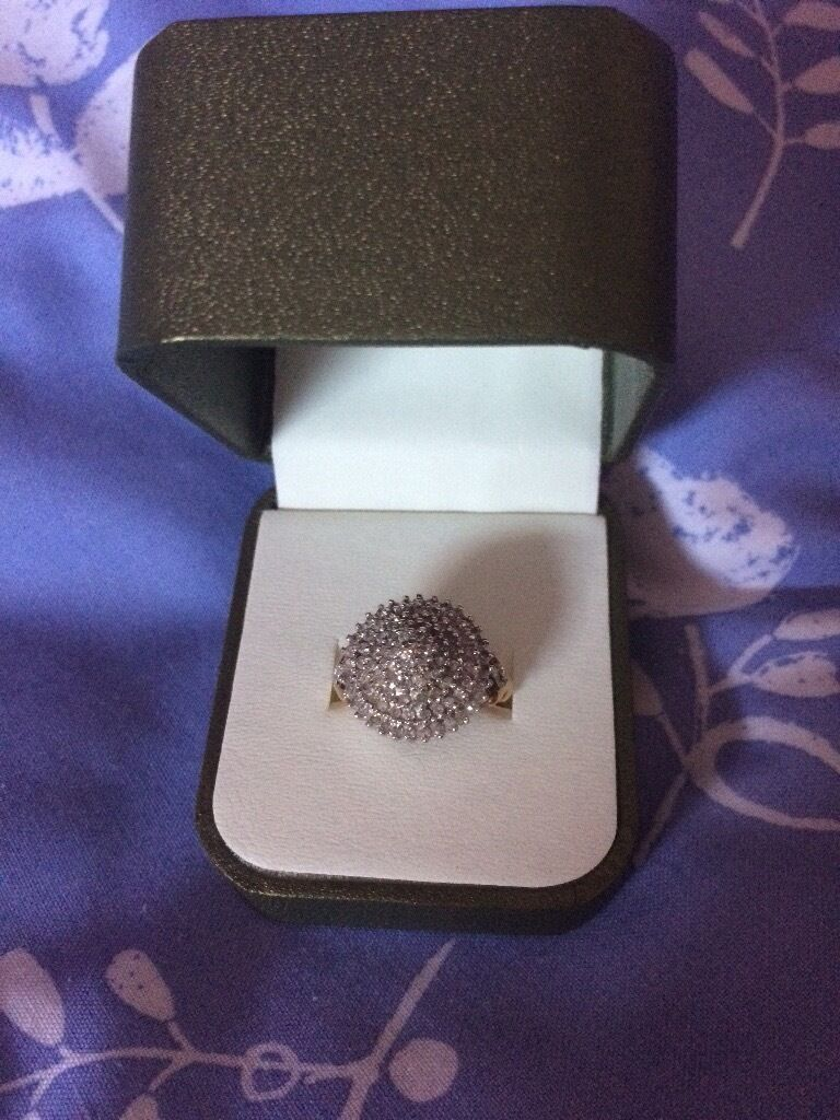 Stunning DIAMOND 9ct gold dome ring