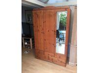Pine 3 door/5 drawer wardrobe - bargain