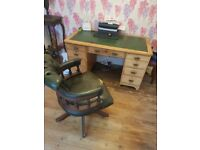 Chesterfield desk and captains chair, needs restoring