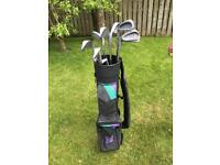 Left handed junior golf clubs and bag. Good condition