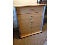 Furniture (Beech colour) Chest of Draws, Tall freestanding Shelf unit (Matching).