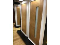 Batch of pre finished oak fire doors with frosted glass for sale