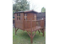 childrens wooden raised platform playhouse less than two years old