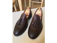 Men's Zara dark brown leather loafers with tassels, size 9, very good condition