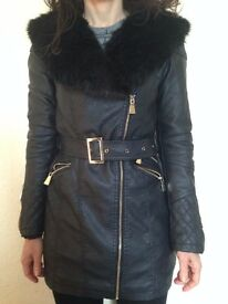 Leather look jacket with fur collar