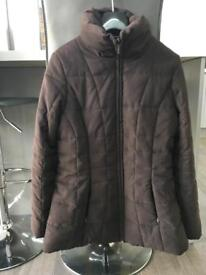 M&Co chocolate brown quilted coat size 10
