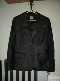 Women's Blazer Style Black Leather Jacket from Oasis, Size 12