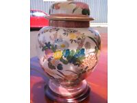 Chinese ceramic hand painted cream ginger jar lamp with a floral theme