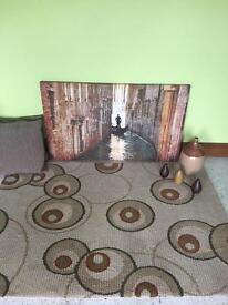Circle thick Rug, large canvas, ornaments, 2 cushions