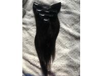 """16"""" double weft full head extensions."""