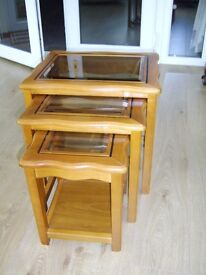 Set of 3 glass topped coffee tables in Excellent condition, unmarked