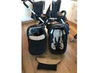 Jane Twin Two Double Pram/ pushchair And two Matrix Cup Carrycots / Carseats