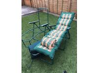 2 X Reclining Garden Chairs With Cushions And Head Rests
