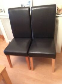 High back dark brown leather dining chairs x2