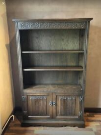Solid Dark Wood Bookcase/shelving unit/sideboard with cupboard
