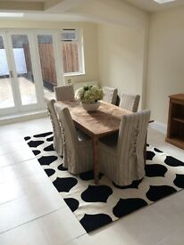 8 Cream with Black Stripe Linen Covered Dining Chairs
