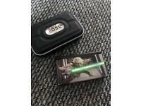 Black Nintendo Ds with Yoda Skin and case
