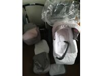 Silver Cross 2in1 Freeway baby/blush pink Pram/pushchair (new) with linear chassis (used)