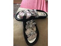 New Black Diamanté sandles