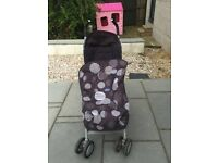 Black and Grey Chicco collapsible stroller with fleece insert/foot muff
