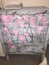 Solid oak vintage shabby rustic chic deco drawers french grey / flowers
