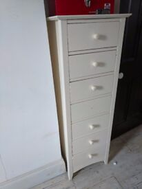 White Wooden Tallboy with Seven Drawers