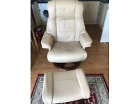 Cream imitation leather chair and footstool