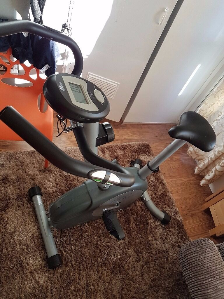 Exercise bike Carl Lewis29.00, use once onlyin Hammersmith, LondonGumtree - Exercise bike Carl Lewis £29.00, use once only!! Magnetic resistance exercise bike Eight levels of resistance Computer with time, speed, distance, calories used, hand pulse and scan Hand pulse monitor Adjustable handle bars and saddle height Deluxe...