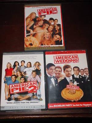 American Pie 1 2 Plus American Wedding  3 Dvds  Like New