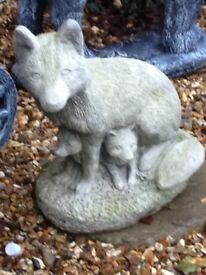 Large solid stone fox ornament