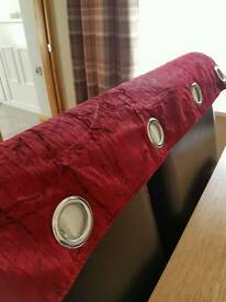 "Dunelm burgundy eyelet curtains fully lined. 90"" x72"" L"