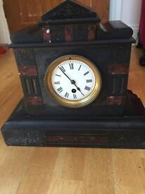 Slate and marble mantle clock