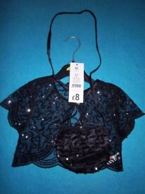 New Girls Black sequin Bolero Cardigan & Bag Set Age 4-5 Years IP1