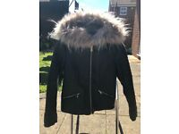Girls leather look jacket age 9