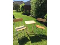 Wooden Fold Away Table & Chair Set ideal for Camping or Small Balcony