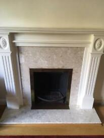 Wooden fireplace, with marble surround