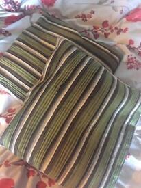 2 x green striped cushions