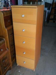 "NARROW TALL CHEST OF DRAWERS 16""w x 19"" deep x 49"" high Wood Filing Cabinet Dresser Storage Brown"