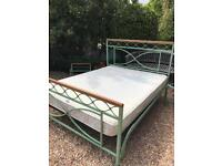Metal King size bed frame and mattress