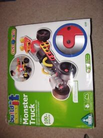 elc build it monster truck over 100 pieces builds 3 vehicles with screwdriver excellent condition